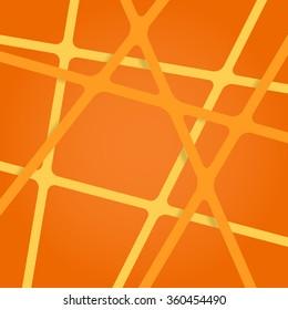 Abstract orange background. Abstract orange lines. Art orange overlapping stripes. Orange abstract streaks. Abstract orange tapes. Abstract orange ribbons. Abstract orange background for design.