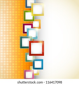 abstract orange background with mosaic and squares