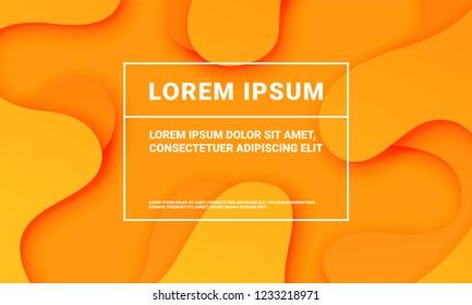 Abstract orange background with soft fluid color gradient pattern. Vector minimal orange art background, modern flat shape backdrop template