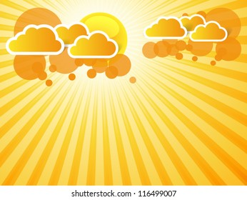 abstract orange background with sun rays and clouds