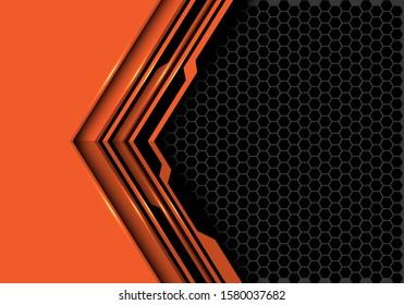 Abstract orange black circuit arrow direction with grey hexagon mesh design modern futuristic technology background vector illustration.
