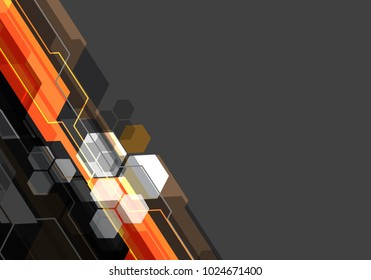 Abstract orange black white polygon technology on gray blank space design modern futuristic background vector illustration.