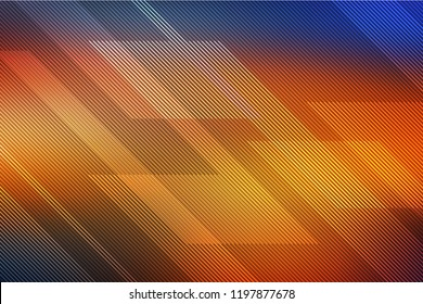 abstract orange and blue background with lines. illustration technology.
