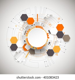 Abstract orange colored technological background with various technological elements. Structure pattern technology backdrop. Vector