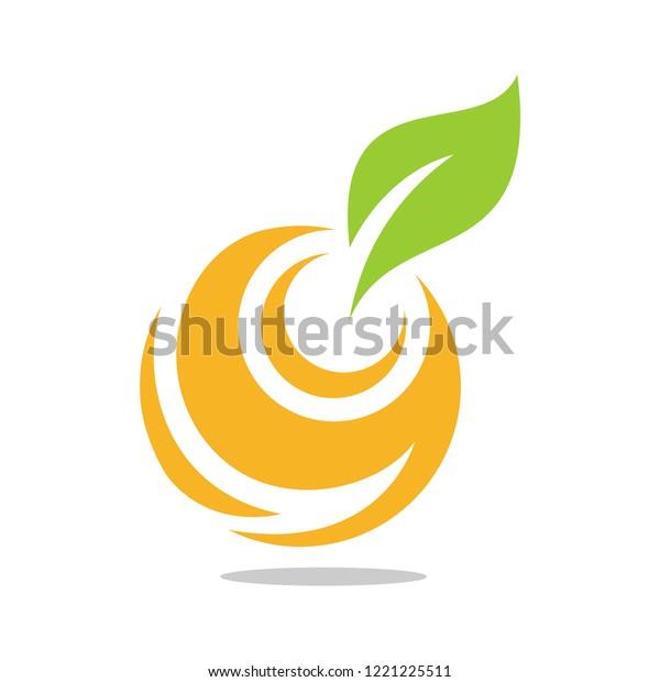 Abstract Orange Fruits Logo Circle Shape Stock Vector