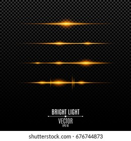 Abstract orange lights on a transparent background. Flashes and glare of gold color. The effect of the camera. Bright rays of light. Light vibration from sound. Glowing lines. Vector illustration