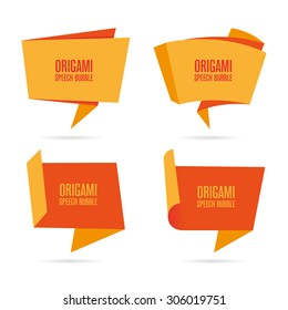 Abstract orange origami speech bubble