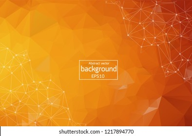Abstract Orange Polygonal Space Background with Connecting Dots and Lines.  Connection structure. Vector science background. Polygonal vector background. Futuristic HUD background.