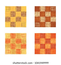 Abstract orange squares seamless pattern set, texture background