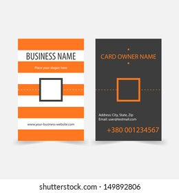 Abstract orange stripes vertical business cards. Vector business card design template.