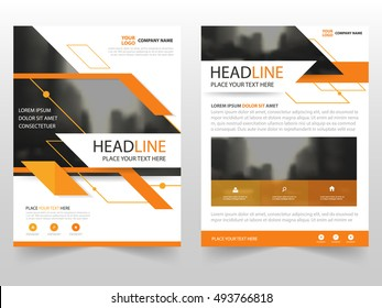 Abstract orange triangle business Brochure Leaflet Flyer annual report template design, book cover layout design, abstract business presentation template, a4 size design