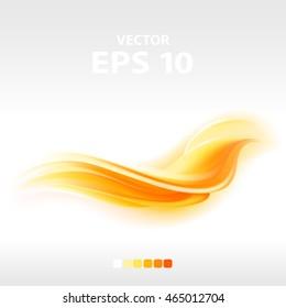abstract orange wave, vector illustration