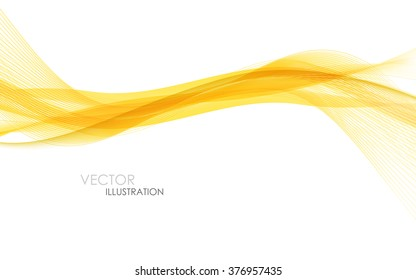 Abstract orange waves - data stream concept. Vector illustration. Clip-art