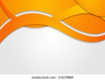 Abstract orange waves. Vector design eps 10