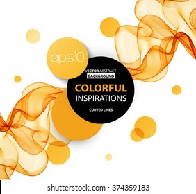 Abstract orange wavy lines.  Colorful vector background