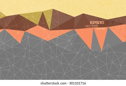 Abstract orange, yellow, brown and grey triangle background, vector illustration eps10