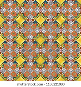 Abstract orange, yellow and gray image with a squares. Vector illustration. Digital art abstract seamless pattern.