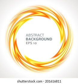 Abstract orange and yellow swirl circle bright background. Vector illustration for you modern design. Round frame or banner with place for text.