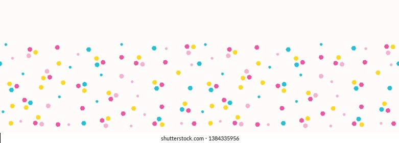 Abstract organic cut dotty circles. Vector pattern seamless border background. Hand drawn style. Polka dot edge stripes graphic illustration. Trendy gender neutral baby home decor, kid fashion trim.