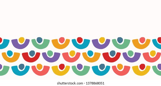Abstract organic cut out half circle shape. Vector border pattern seamless background. Hand paper cutting matisse style. Collage illustration. Trendy kid fashion edge stripe trim. Rainbow dot colors.