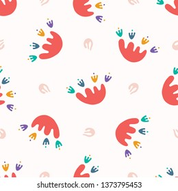 Abstract organic cut out shapes. Vector pattern seamless background. Hand paper cutting matisse style. Collage graphic illustration. Trendy home decor, kid fashion print, wallpaper. Tossed fun flower.