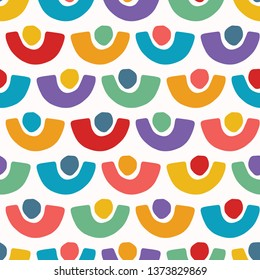 Abstract organic cut out shapes. Vector pattern seamless background. Hand paper cutting matisse style. Collage graphic illustration. Trendy home decor, kid fashion print, wallpaper. Dot curve circles