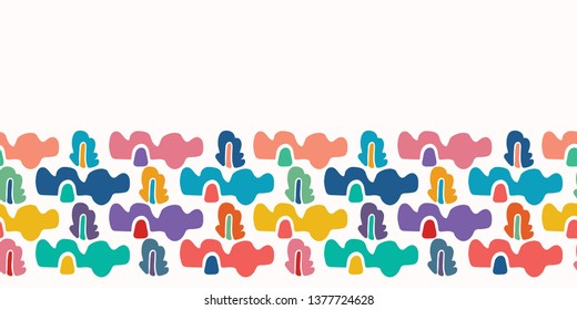 Abstract organic cut out shapes. Vector border pattern seamless background. Hand paper cutting matisse style. Collage graphic illustration. Trendy home decor, kid fashion edge trim. Tossed fun colors.