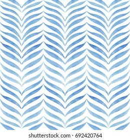 Abstract organic leaves shapes pattern. Vector seamless white and blue hand drawn watercolor herringbone background.