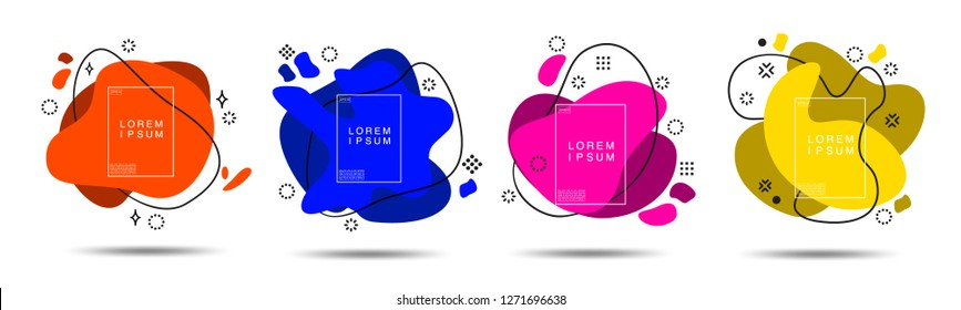 Abstract Organic shapes form in Paper style with solid colour Blue and pink, orange, yellow and purple on white background.