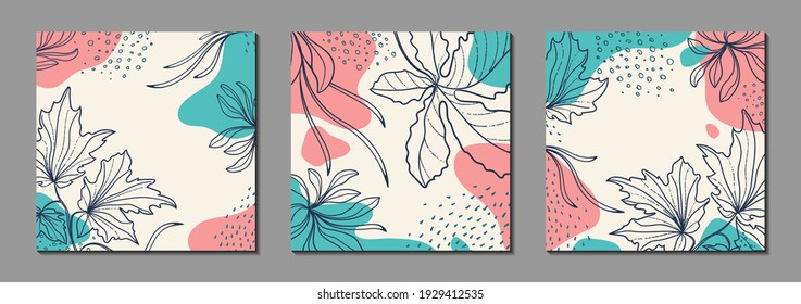 Abstract organic vector shapes, leaves, branch, plants. Set of natural template in doodle style for social media post, cover, poster, greeting card, background. Modern graphics for business, holiday