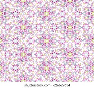 Abstract oriental floral seamless pattern. Flower geometric ornamental background. Floral ethnic tiled ornament with flowers.