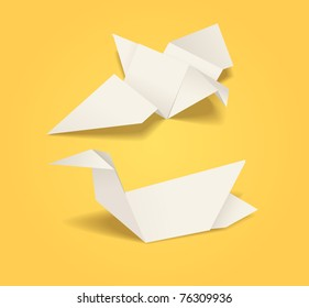 Abstract origami birds. Dove and duck