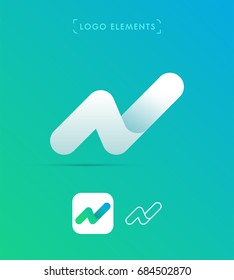 Abstract origami letter N logo. Material design style