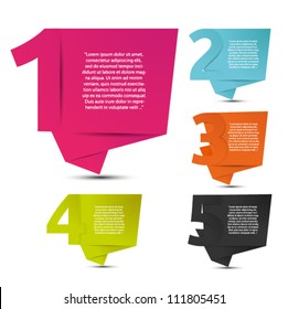 Abstract origami speech bubble with number vector backgrounds set. Eps 10.