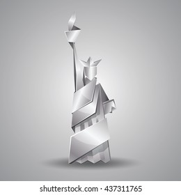 Abstract origami Statue of Liberty illustration. Vector silver polygonal statue in New York. Metal origami Independence day background.