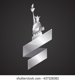 Abstract origami Statue of Liberty illustration. Vector silver polygonal statue in New York. Metal origami Independence day background with ribbon. Fourth of July template for greeting card.