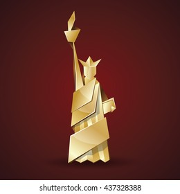 Abstract origami Statue of Liberty illustration. Vector gold polygonal statue in New York. Metal origami Independence day background.