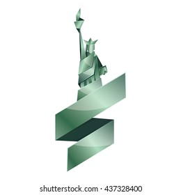 Abstract origami Statue of Liberty illustration. Vector green polygonal statue in New York. Metal origami Independence day background with ribbon. Fourth of July template for greeting card.
