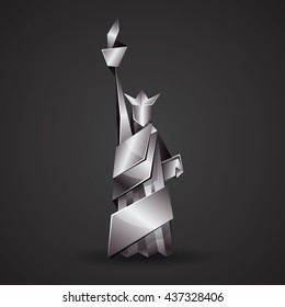 Abstract origami Statue of Liberty illustration. Vector metallic polygonal statue in New York. Metal origami Independence day background.