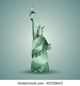 Abstract origami Statue of Liberty illustration. Vector green polygonal statue in New York. Metal origami Independence day background.
