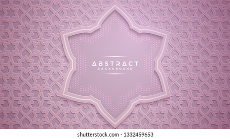 Abstract ornament background with 3D style. Purple pink background.