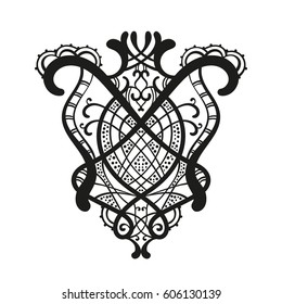 Abstract ornament hand drawn, Isolated design element can be used for coloring book, Vector illustration