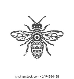 Abstract Ornamental Bee Shape. Vector Honey Bee for Your Design.