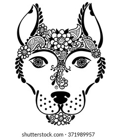 Abstract ornamental dog. Vector black and white illustration.