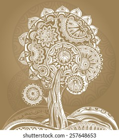 Abstract ornamental graphic magic tree with a lot of details