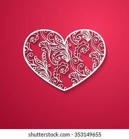 Abstract ornamental heart shaped 3d decoration on bright red background. Cutout lacy ornamental heart. Valentine's day greeting card. Vector illustration Eps 10