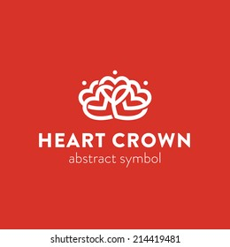 Abstract ornate crown simple graphic symbol consisting of heart shapes, ornamental logo template