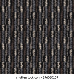 Abstract ornate embroidery threads striped textured fabric background. Seamless pattern. Vector.