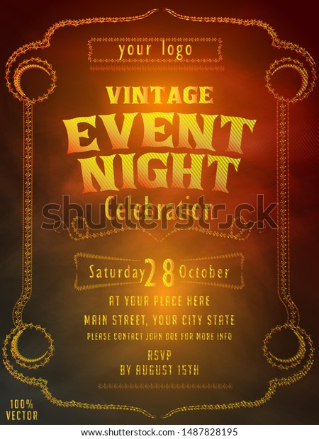 Abstract Ornate Vintage Event Invitation Card Stock Vector