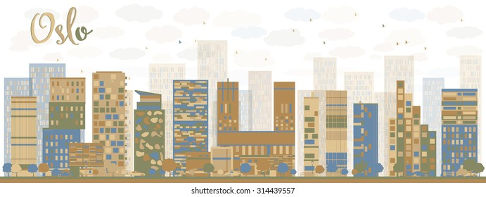 Abstract Oslo Skyline with Blue Buildings. Vector Illustration. Business travel and tourism concept with modern buildings. Image for presentation, banner, placard and web site.